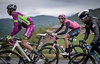first grupetto, including Maglia Rosa / Pink Jersey Filippo Ganna (ITA/INEOS Grenadiers) up the Colle Passerino (3km from the finish)<br /> <br /> 104th Giro d'Italia 2021 (2.UWT)<br /> Stage 4 from Piacenza to Sestola (187km)<br /> <br /> ©kramon