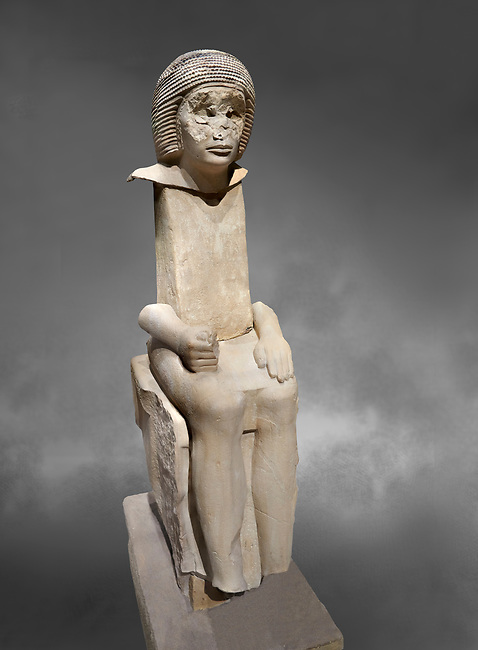 """Ancient Egyptian statue of Iteti, sandstone, Old Kingdom, 5th Dynasty, (2500-2400 BC), Mastaba. Egyptian Museum, Turin. Grey background.<br /> <br /> Fragmentary sandstone statue inscribed for Iteti, identified as """"inspector of wab-priests of the pyramid of Khufu""""; Iteti, wearing curly wig and moustache (engraved on face), seated on chair with bull's legs."""