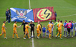 St Johnstone v Motherwell.....19.05.13      SPL.The players shake hands before kick off with a back drop of a new St Johnstone Eskisehirspor flag..Picture by Graeme Hart..Copyright Perthshire Picture Agency.Tel: 01738 623350  Mobile: 07990 594431