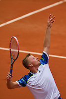 France, Paris, 27.05.2014. Tennis, French Open, Roland Garros,  Andrey Golubev (KAZ) serving in his match against Andy Murray (GBR) <br /> Photo:Tennisimages/Henk Koster