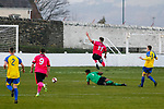 Goal scored by Josh Greening for Pickering Town. Stocksbridge Park Steels v Pickering Town,  Evo-Stik East Division, 17th November 2018. Stocksbridge Park Steels were born from the works team of the local British Steel plant that dominates the town north of Sheffield.<br /> Having missed out on promotion via the play offs in the previous season, Stocksbridge were hovering above the relegation zone in Northern Premier League Division One East, as they lost 0-2 to Pickering Town. Stocksbridge finished the season in 13th place.