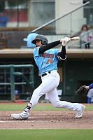 Ryan Vega (14) of the  Inland Empire 66ers bats against the Stockton Ports at San Manuel Stadium on May 26, 2019 in San Bernardino, California. (Larry Goren/Four Seam Images)