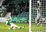 Hibs v St Johnstone....21.12.13    SPFL<br /> Alan Mannus saves from Jason Cummings<br /> Picture by Graeme Hart.<br /> Copyright Perthshire Picture Agency<br /> Tel: 01738 623350  Mobile: 07990 594431