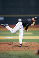 Wake Forest Demon Deacons relief pitcher Griffin Roberts (43) delivers a pitch to the plate against the Clemson Tigers at David F. Couch Ballpark on March 12, 2016 in Winston-Salem, North Carolina.  The Tigers defeated the Demon Deacons 6-5.  (Brian Westerholt/Four Seam Images)