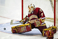 9 January 2009: Boston College Eagles' goaltender John Muse, a Sophomore from East Falmouth, MA, makes a third period save during the first game of a weekend series against the University of Vermont Catamounts at Gutterson Fieldhouse in Burlington, Vermont. The Catamounts scored with one second remaining in regulation time to earn a 3-3 tie with the visiting Eagles. Mandatory Photo Credit: Ed Wolfstein Photo