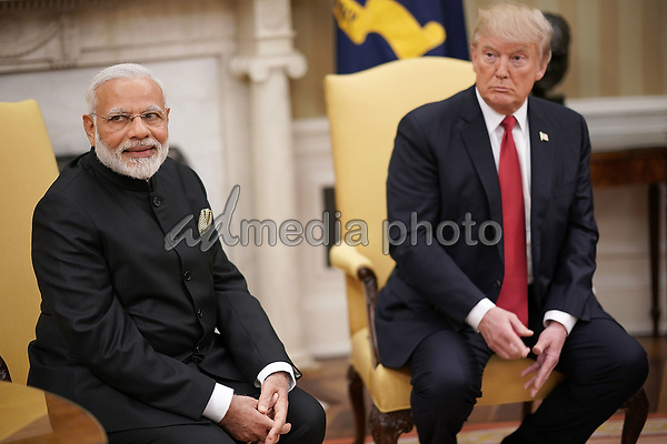 United States President Donald Trump meets with Indian Prime Minister Narendra Modi in the Oval Office of the White House June 26, 2017 in Washington, DC. Trump and Modi are scheduled to deliver joint statements later today following their meetings. Photo Credit: Win McNamee/CNP/AdMedia