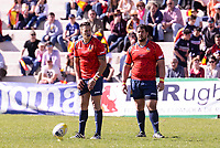 Spain's Brad Linklater and Jesus Moreno during Rugby Europe Championship 2017 match between Spain and Belgium in Madrid. March 18, 2017. (ALTERPHOTOS/Borja B.Hojas) /NORTEPHOTO.COM
