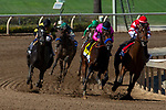 """ARCADIA, CA. SEPTEMBER 29:  #4 Game Winner, ridden by Joel Rosario, and #1 Rowayton, ridden by Florent Geroux, are neck and neck in the final turn of the American Pharoah Stakes (Grade l) """"Win and You're In Breeders' Cup Juvenile Division"""" on September 29, 2018 at Santa Anita Park in Arcadia, CA. (Photo by Casey Phillips/Eclipse Sportswire/CSM)"""