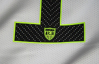 Harrison, NJ- May 26, 2015: The official FIFA Women's World Cup patches are applied to the USWNT white Nike uniforms.