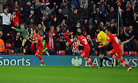 Saturday 10 November 2012<br /> Pictured: Morgan Schneiderlin of Southampton (L) celebrating his opening goal to the delight of home supporters <br /> Re: Barclay's Premier League, Southampton FC v Swansea City FC at St Mary's Stadium, Southampton, UK.