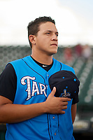 Tampa Tarpons Jason Lopez (3) during the national anthem before a game against the Bradenton Marauders on August 12, 2018 at LECOM Park in Bradenton, Florida.  The game was suspended in the bottom of the first inning due to weather.  (Mike Janes/Four Seam Images)