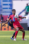Mohamed Saad Alromaihi of Bahrain (R) fights for the ball with Theerathon Bunmathan of Thailand during the AFC Asian Cup UAE 2019 Group A match between Bahrain (BHR) and Thailand (THA) at Al Maktoum Stadium on 10 January 2019 in Dubai, United Arab Emirates. Photo by Marcio Rodrigo Machado / Power Sport Images