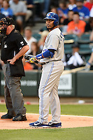 Toronto Blue Jays designated hitter Edwin Encarnacion (10) at bat during a game against the Chicago White Sox on August 15, 2014 at U.S. Cellular Field in Chicago, Illinois.  Chicago defeated Toronto 11-5.  (Mike Janes/Four Seam Images)