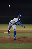 AZL Royals relief pitcher Adrian Alcantara (25) follows through on his delivery during an Arizona League game against the AZL Giants Black at Scottsdale Stadium on August 7, 2018 in Scottsdale, Arizona. The AZL Giants Black defeated the AZL Royals by a score of 2-1. (Zachary Lucy/Four Seam Images)