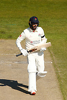 16th April 2021; Emirates Old Trafford, Manchester, Lancashire, England; English County Cricket, Lancashire versus Northants; Saqib Mahmood of Lancashire runs between wickets as he watches his shot go through the covers