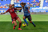 HARRISON, NJ - MARCH 08: Emi Nakajima #7 of Japan is defended by Chloe Kelly #22 of England during a game between England and Japan at Red Bull Arena on March 08, 2020 in Harrison, New Jersey.