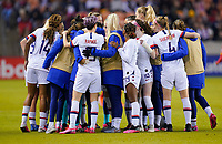 HOUSTON, TX - JANUARY 31: USWNT huddle during a game between Panama and USWNT at BBVA Stadium on January 31, 2020 in Houston, Texas.