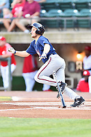 Elizabethton Twins Anthony Prato (12) swings at a pitch during a game against the Greenville Reds at Pioneer Park on June 29, 2019 in Greeneville, Tennessee. The Twins defeated the Reds 8-1. (Tony Farlow/Four Seam Images)