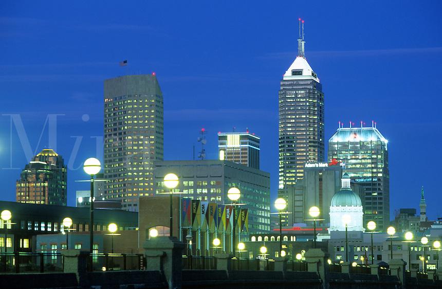 dusk skyline Indianapolis Indiana.