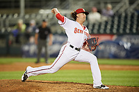 Harrisburg Senators relief pitcher Derek Self (25) delivers a pitch during a game against the Bowie Baysox on May 16, 2017 at FNB Field in Harrisburg, Pennsylvania.  Bowie defeated Harrisburg 6-4.  (Mike Janes/Four Seam Images)