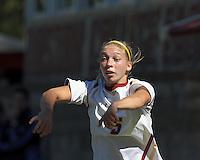 Boston College midfielder Lauren Bernard (5) throw in. Virginia Tech (maroon) defeated Boston College (white), 1-0, at Newton Soccer Field, on September 22, 2013.
