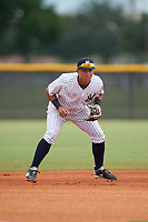 GCL Yankees East third baseman Javier Reynoso (14) during a Gulf Coast League game against the GCL Phillies West on July 26, 2019 at the New York Yankees Minor League Complex in Tampa, Florida.  (Mike Janes/Four Seam Images)