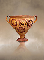 Minoan decorated two handled Ephyraean goblet  with geometric design , Konssos  Temple Tomb 1400-1250 BC; 1400-1250 BC; Heraklion Archaeological Museum.