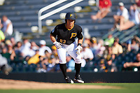 Pittsburgh Pirates Connor Joe (83) leads off first base during a Spring Training game against the Tampa Bay Rays on March 10, 2017 at LECOM Park in Bradenton, Florida.  Pittsburgh defeated New York 4-1.  (Mike Janes/Four Seam Images)