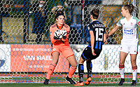 OHL's goalkeeper Louise Van Den Bergh pictured catching the ball  during a female soccer game between Club Brugge Dames YLA and Oud Heverlee Leuven on the 8 th matchday of the 2020 - 2021 season of Belgian Scooore Womens Super League , saturday 21 th November 2020  in Knokke , Belgium . PHOTO SPORTPIX.BE | SPP | DAVID CATRY