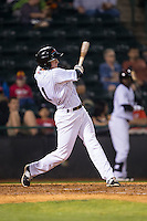 Josh Altmann (21) of the Hickory Crawdads follows through on his swing against the Rome Braves at L.P. Frans Stadium on May 12, 2016 in Hickory, North Carolina.  The Braves defeated the Crawdads 3-0.  (Brian Westerholt/Four Seam Images)