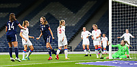 21st September 2021; Hampden Park, Glasgow, Scotland: FIFA Womens World Cup qualifying, Scotland versus Faroe Islands; Christy Grimshaw of Scotland shoots on the back post and makes it 4-0 in the 39th minute