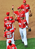 25 September 2011: Washington Nationals outfielder Jayson Werth (28) celebrates with teammates after a game against the Atlanta Braves at Nationals Park in Washington, DC. The Nationals shut out the Braves 3-0 to take the rubber match third game of their 3-game series - the Nationals' final home game for the 2011 season. Mandatory Credit: Ed Wolfstein Photo