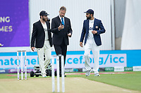 Kane Williamson (l), Virat Kohli and match referee Chris Broad prepare for the toss during India vs New Zealand, ICC World Test Championship Final Cricket at The Hampshire Bowl on 19th June 2021