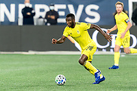FOXBOROUGH, MA - OCTOBER 3: Tah Brian Anunga #27 of Nashville SC looks to pass during a game between Nashville SC and New England Revolution at Gillette Stadium on October 3, 2020 in Foxborough, Massachusetts.