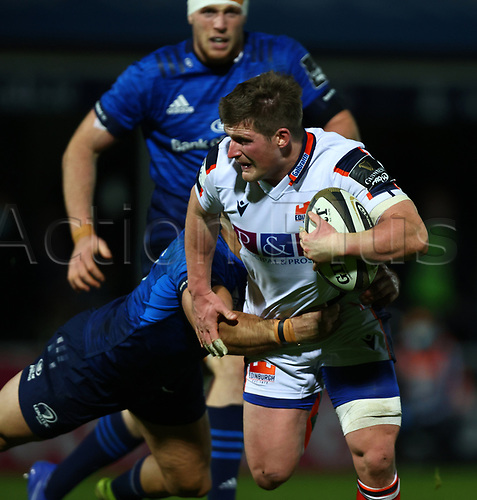 16th November 2020; RDS Arena, Dublin, Leinster, Ireland; Guinness Pro 14 Rugby, Leinster versus Edinburgh; James Johnstone (Edinburgh) holds on to the ball as he is tackled