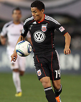 Andy Najar (14) of D.C. United  during an MLS match against the Los Angeles Galaxy at RFK Stadium, on April 9 2011, in Washington D.C. The game ended in a 1-1 tie.