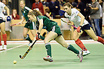 Berlin, Germany, February 01: Maike Schaunig #3 of HTC Uhlenhorst Muehlheim dribbles the ball during the 1. Bundesliga Damen Hallensaison 2014/15 final hockey match between Duesseldorfer HC (white) and HTC Uhlenhorst Muehlheim (green) on February 1, 2015 at the Final Four tournament at Max-Schmeling-Halle in Berlin, Germany. Final score 4-1 (1-0). (Photo by Dirk Markgraf / www.265-images.com) *** Local caption ***