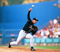 Trevor Hoffman of the San Diego Padres participates in a Major League Baseball game at Dodger Stadium during the 1998 season in Los Angeles, California. (Larry Goren/Four Seam Images)
