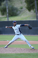 Isaiah Davis (43) of the Fresno State Bulldogs pitches against the Pepperdine Waves at Eddy D. Field Stadium on March 7, 2017 in Los Angeles, California. Pepperdine defeated Fresno State, 8-7. (Larry Goren/Four Seam Images)