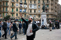 Anti  government protesters on Tahrir square. Throughout Friday, 4 February, anti government protesters protected their positions from pro Mubarak supporters around Tahrir square, the scene of heavy clashes between pro and anti government protesters. Continued anti-government protests take place in Cairo calling for President Mubarak to stand down. After dissolving the government and allowing for talks with opposition parties Mubarak still refuses to step down from power...