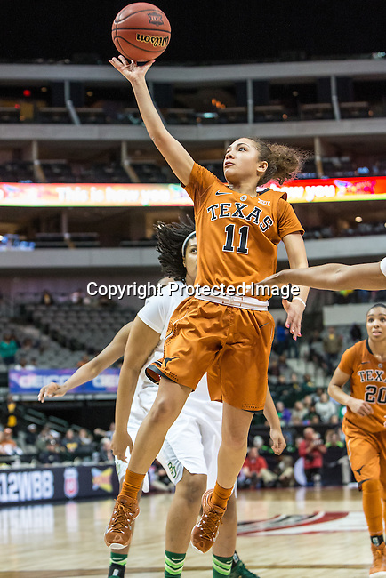 guard Brooke McCarty (11) in action during Big 12 women's basketball championship final, Sunday, March 08, 2015 in Dallas, Tex. (Dan Wozniak/TFV Media via AP Images)