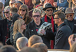 The  funeral of Prodigy singer Keith Flint at St Marys Church in Bocking,  Essex today. Laim Howlett of the Prodigy leaves the service while carrying Keith's belt with fellow band member Maxim to his right.