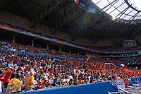 LYON, FRANCE - JULY 07: Fans during a game between Netherlands and USWNT at Stade de Lyon on July 07, 2019 in Lyon, France.
