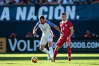 San Diego, CA - Sunday January 29, 2017: Chris Pontius, Nemanja Miletic during an international friendly between the men's national teams of the United States (USA) and Serbia (SRB) at Qualcomm Stadium.