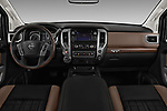 Stock photo of straight dashboard view of 2018 Nissan Titan Platinum-Reserve-Crew 4 Door Pickup Dashboard