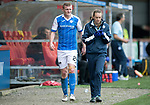 Partick Thistle v St Johnstone…28.10.17…  Firhill…  SPFL<br />Brian Easton limps off injured with physio Mel Stewart<br />Picture by Graeme Hart. <br />Copyright Perthshire Picture Agency<br />Tel: 01738 623350  Mobile: 07990 594431