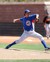 Aaron Kurcz of the Chicago Cubs plays in a minor league spring training game against the San Francisco Giants at the Cubs complex on March 29, 2011  in Mesa, Arizona. .Photo by:  Bill Mitchell/Four Seam Images.