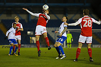 Fleetwood Town's Harrison Biggins (left) during the The Checkatrade Trophy match between Bury and Fleetwood Town at Gigg Lane, Bury, England on 9 January 2018. Photo by Juel Miah/PRiME Media Images.