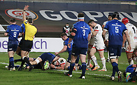 6 March 2021; Marcell Coetzee scores Ulster's opening try during the Guinness PRO14 match between Ulster and Leinster at Kingspan Stadium in Belfast. Photo by John Dickson/Dicksondigital