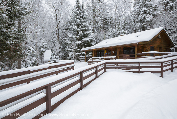 The visitor information cabin at Lincoln Woods Trailhead in Lincoln, New Hampshire USA during the winter months.